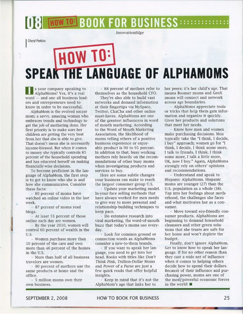 marketing to alphamoms, innovation