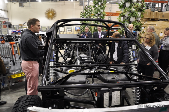 Jay discusses the rugged chassis of an embryonic  Rally Fighter